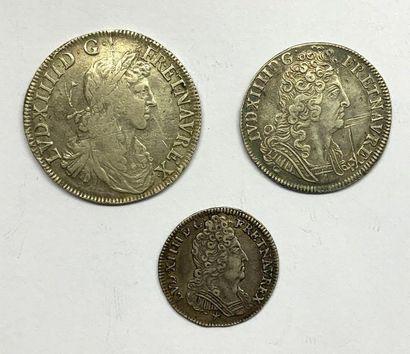 France – Louis XIV  Lot de trois monnaies,...