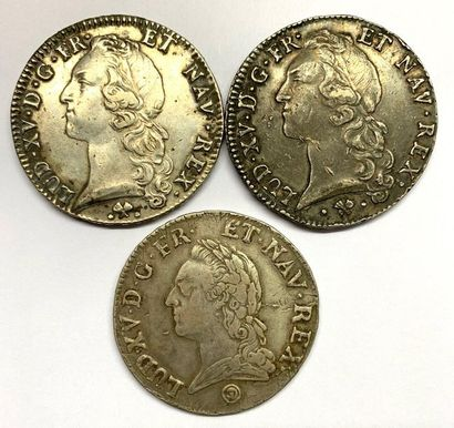 France – Louis XV  Lot de deux écus au Bandeau,...