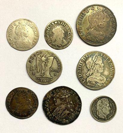 France –  Lot de huit monnaies royales comprenant...