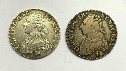 France – Louis XVI  Lot de deux Demi-Écus,...