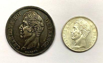 France – Charles X  Lot de deux monnaies,...
