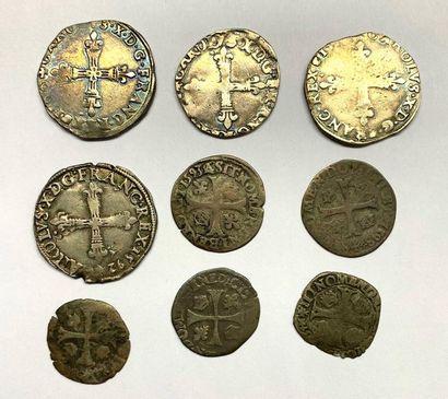 France – Charles X  Lot de neuf monnaies...