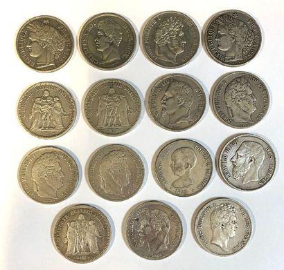 France -  Lot de quinze écus de 5 Francs...