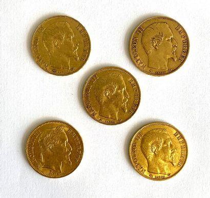 France – Napoléon III  Lot de cinq monnaies de 20 francs, comprenant :  -Quatre...