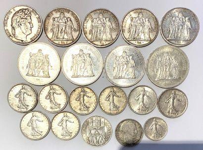 France -  Important lot de monnaies en argent,...