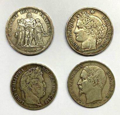 France –  Lot de quatre Écus de cinq Francs,...