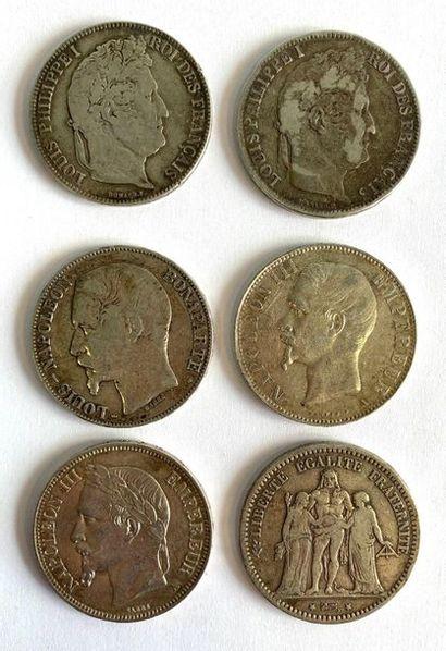 Lot de six écus de 5 francs, comprenant :...
