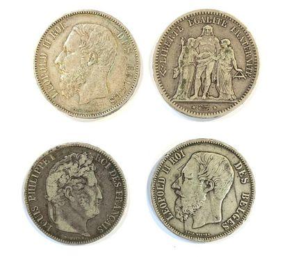 Monde _  Lot de quatre écus de 5 Francs,...