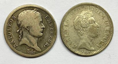 Monde –  Lot de deux monnaies, comprenant...