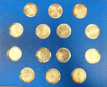 France 100 Francs  Lot de quatorze monnaies...