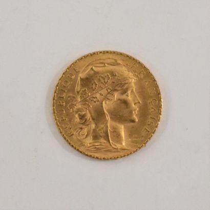 France – Coq Marianne  Une monnaie de 20 Francs 1913  Etat TB  Or 22K 1913  Etat...