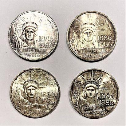 France  Lot de 4 monnaies 100 Francs, Centenaire...