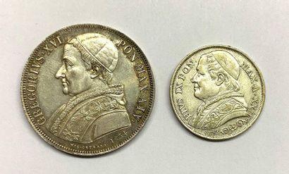 Vatican –  Lot de deux monnaies argent, comprenant...