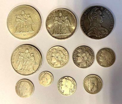 Divers -  Lot de onze monnaies en argent...