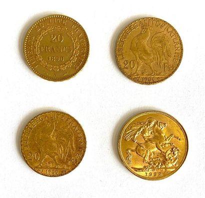 Monde –  Lot de quatre monnaies en or comprenant :  -Une 20 Francs Génie 1890 A...