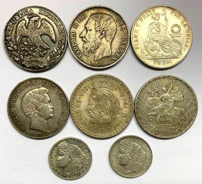 Divers –  Lot de huit monnaies diverses en...