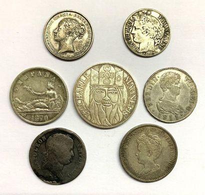 Monde – Divers  Lot de six monnaies diverses...