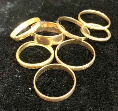Bijoux - Bague  Lot de huit alliances en or 18 carats dont Certaines sont coupées...