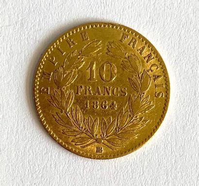 France – Napoléon III  Une monnaie de 10 Francs Napoléon III tête Laurée 1864 BB...
