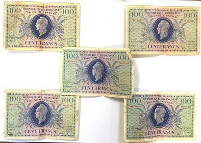 France -  Lot de cinq billlets de 100 Francs...
