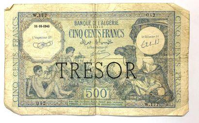 Algérie - Trésor  Un billet de 500 Francs...