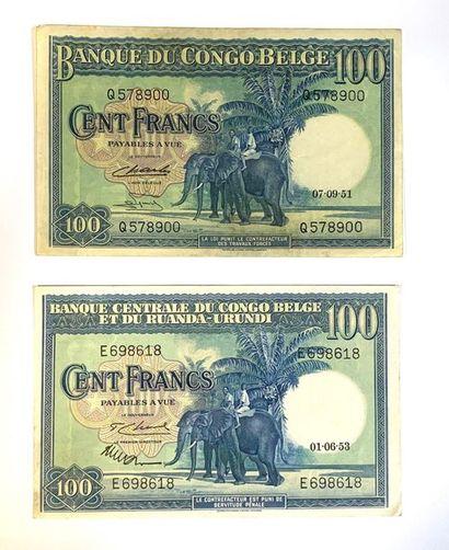 Congo - Belge  Lot de deux billets de 100...
