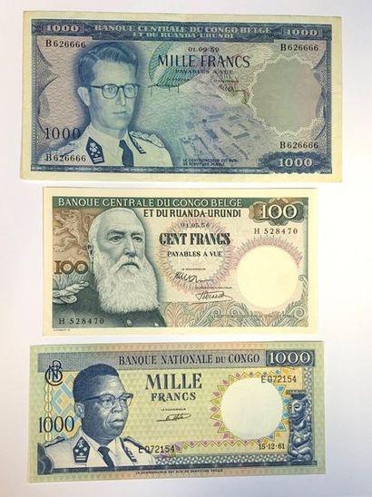Congo - Belge  Lot de trois billets, comprenant:...