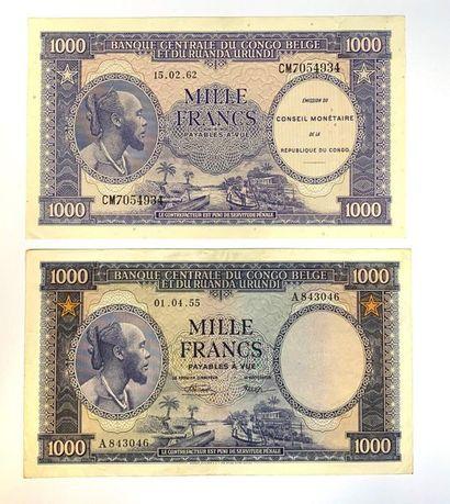Congo - Belge-  Lot de deux billets de 1000...