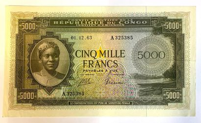 Congo Belge -  Un billet de 5000 Francs du...