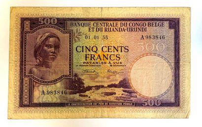 Congo Belge-  Un billet de 500 Francs de...