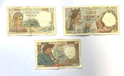France - Divers  Lot de trois billets, comprenant...