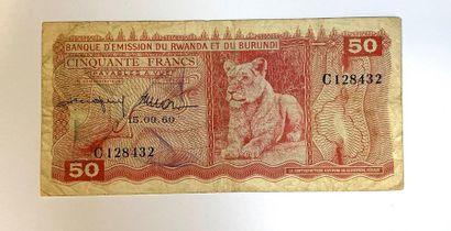 Ruanda - Burundi  Un billet de 50 Francs...