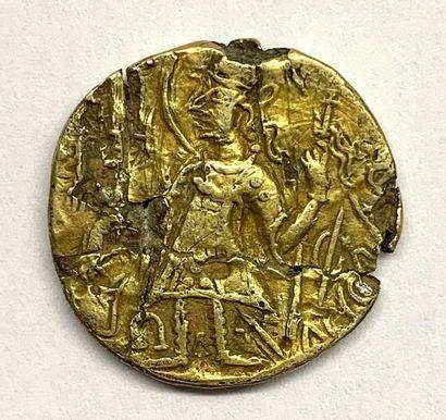Kouchan – Empire du Kouchan  Statère d'or à la déesse  A : Le roi debout à gauche...