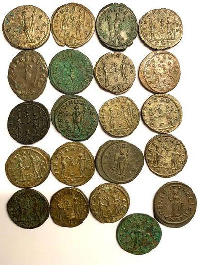 Rome – Empire  Carinus  Lot de vingt et une monnaies en billon et bronze  Poids...
