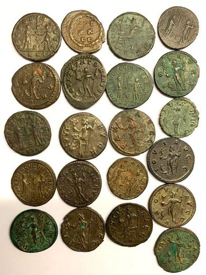 Rome – Empire  Dioclétianus  Lot de vingt et une monnaies en billon et bronze  Poids...