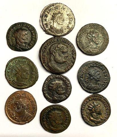 Rome – Empire  Maximianus  Lot de dix monnaies en billon et bronze  Poids compris...
