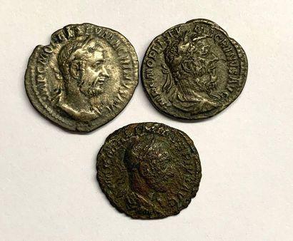 Rome – Macrin  Lot de trois deniers  Bel...