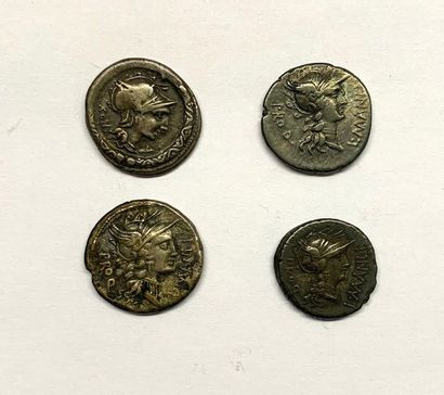 Rome – Manlia  Lot de quatre Deniers  A :...