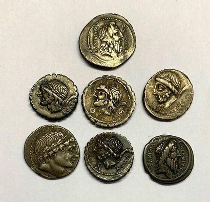 Rome – Memmia  Lot de sept Deniers  Poids compris entre 3,38 et 3,90 grammes
