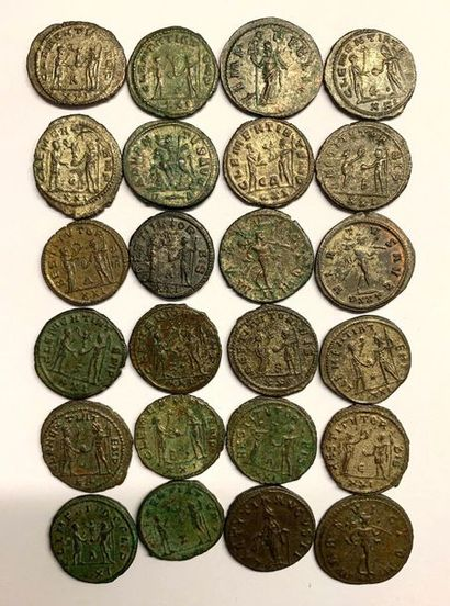Rome – Probus  Lot de vingt-quatre deniers et bronze de l'empire  États divers