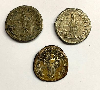 Rome – Geta  Lot de trois deniers  Bel état  Poids compris entre 3,11 et 3,31 g...