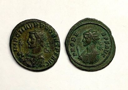 Siscia - Probus  Batch of two deniers  A: Probus crowned on the left.  R1 / Sol...
