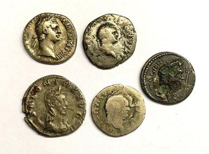 Rome – Divers  Lot de cinq deniers de l'empire...