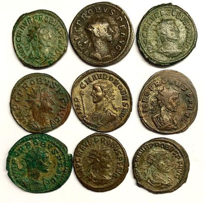 Siscia – Probus  Lot de neuf monnaies en...