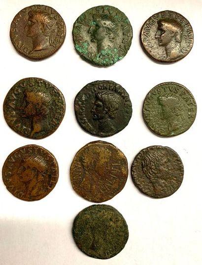 Rome – Auguste  Lot de dix as et dupondius...