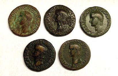 Rome – Caligula  Lot de cinq As de Caligula...