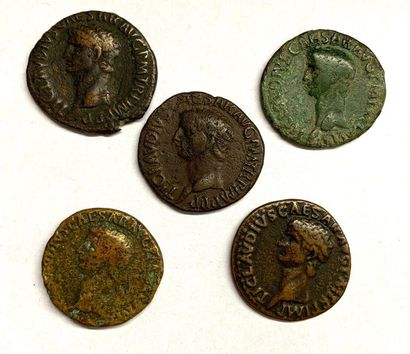 Rome – Claude  Lot de cinq As et dupondius...