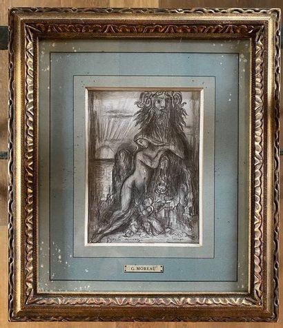 Gustave MOREAU (1826 - 1898) Europe Black pencil Sheet size 20.5 x 16 cm Dimension...