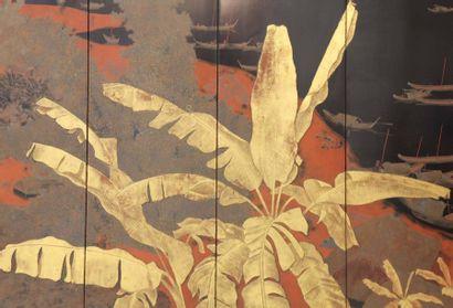 Lê Quôc Lôc (1918-1987) Paysage d'un village, 1943 Paravent à six feuilles en bois...