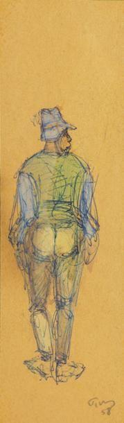 Mark TOBEY (Centerville 1890-Bâle 1976) Homme vu de dos Crayon, stylo bille et aquarelle...